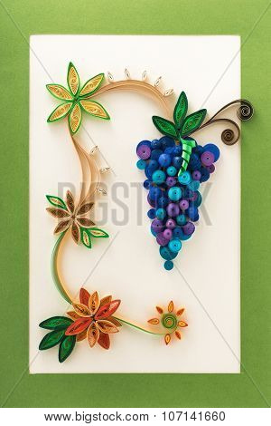 Paper Flowers And Grape Made With Quilling Technique