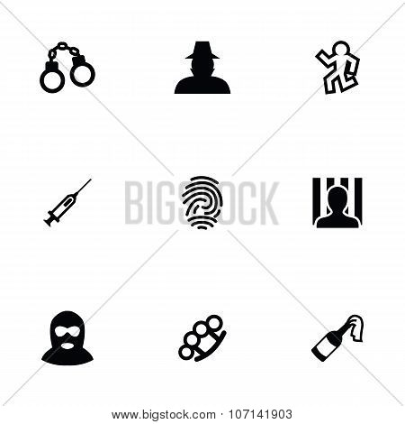Crime 9 Icons Set