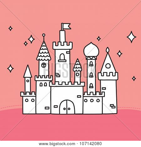 Hand drawn doodle vector large castle