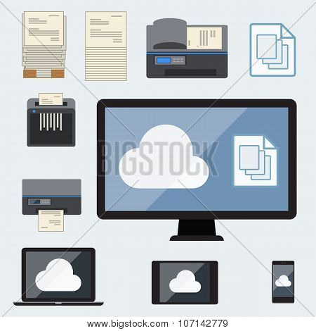 Big Data icons set, Cloud Computing with computer and office devices