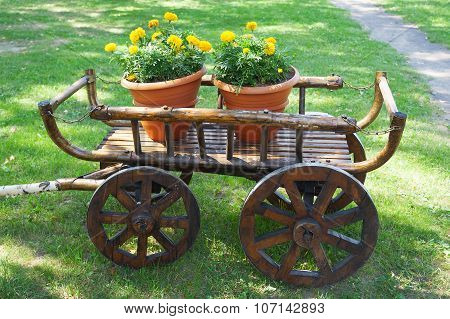 Rustic Wagon With Flowers