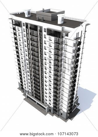 Visualization of modern multi-storey residential building