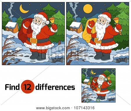 Find Differences For Children: Santa Claus With A Bell