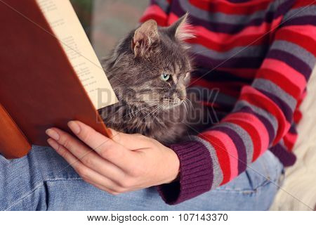 Reading woman sitting on window boar with cat on knees