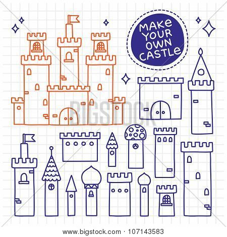 Make your own castle. Hand drawn doodle tower vector set