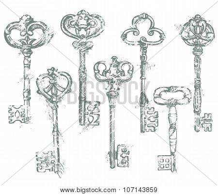 Set Of Antique Vintage Keys In Grunge Style. Isolated On White Background