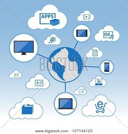 Big Data, Cloud computing concept, Vector Flat design