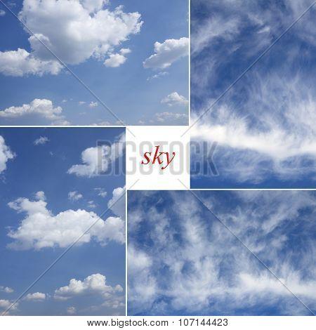 Four Image Of Blue Sky.