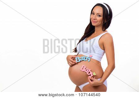 Pregnant Woman With Sign