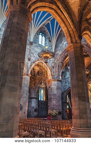 Interior of St Giles Cathedral in Edinburgh