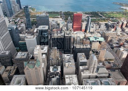 City Of Chicago. Aerial View Of Chicago Downtown At Nigh From Hi