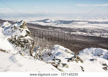 Snowy Rocks, Forest And Fields, Seasonal Landscape