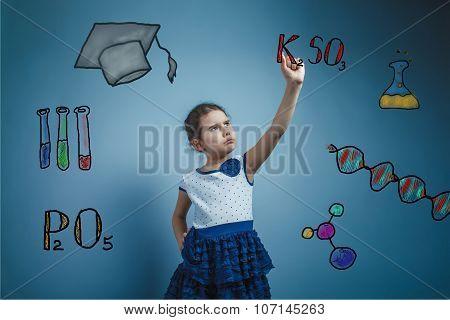 teen girl chemistry teenage student writes a formula sketch form