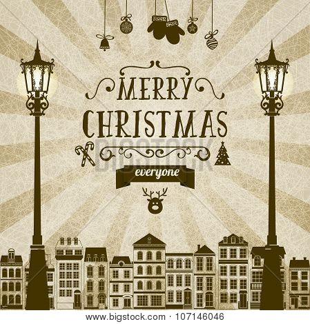 Vintage square monochrome brown-white retro Christmas card