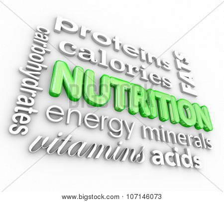 Nutrition word collage with proteins, calories, carbohydrates, energy, vitamins, minerals and more