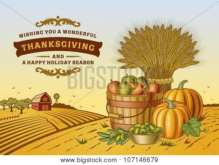 Vintage Thanksgiving Landscape. Editable vector illustration with clipping mask.