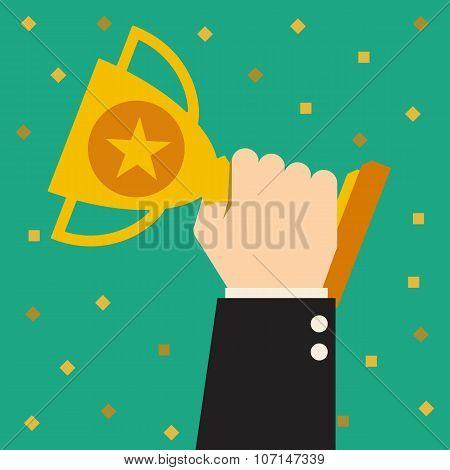 Trophy, Businessman showing success