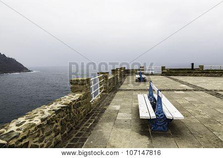 Balcony On The Sea With Seats In San Sebastian, Spain