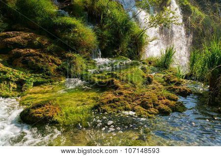 Waterfall in the national park Plitvice, Croatia