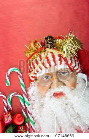 Santa With Earphones, On Red With Christmas Ornaments