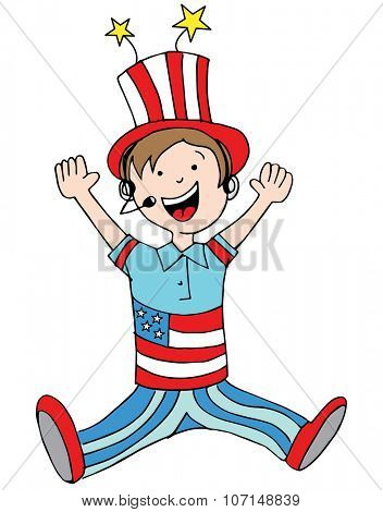 An image of a boy wearing a USA patriotic costume.