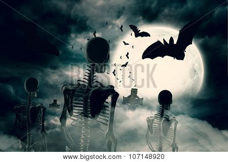 Digitally generated Army of skeletons under full moon