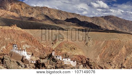 Panoramic View Of Ruins At Basgo Monastery, Leh, Ladakh, Jammu And Kashmir, India