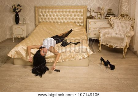 Strangled Victim In A Vintage Bedroom