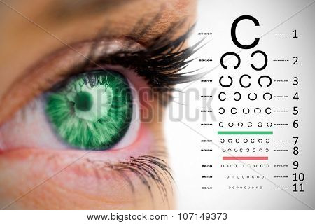 Green eye looking on female face against eye test