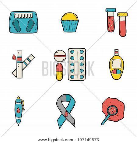 Diabetes hand drawn icons