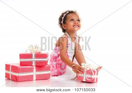 Smiling Girl With Pink Gift Box. Birthday Present. Shopping. Prize, Win, Event.