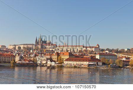 Autumn View Of Prague Castle From Vltava River