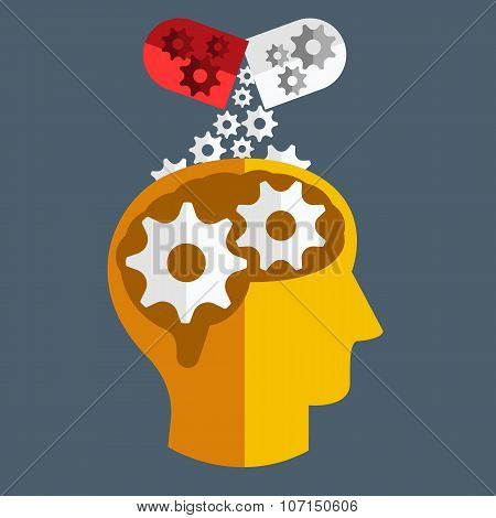 Brain medicine. Vector Flat design