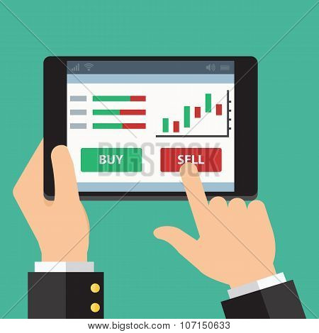 Mobile foreign exchange trading. Vector Flat design