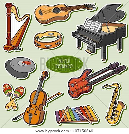 Color Set With Musical Instruments, Vector Cartoon Stickers