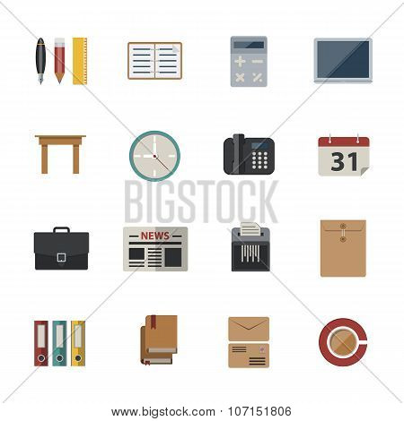 Business and office icon. Flat Icons set for Website and Mobile applications. Vector