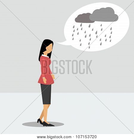 Woman In Depression With A Rainy Thoughts