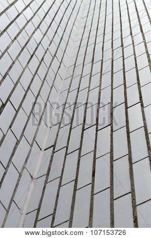 Abstract Upward View Of White Rectangle Brick Wall