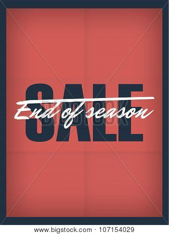End of season sale vintage banner on red paper vector background.