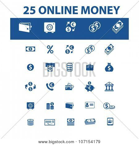 online money, banking  icons, signs vector concept set for infographics, mobile, website, application
