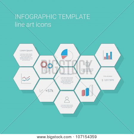 Flat design infographics template with business line icons user interface. Pie chart and other graph