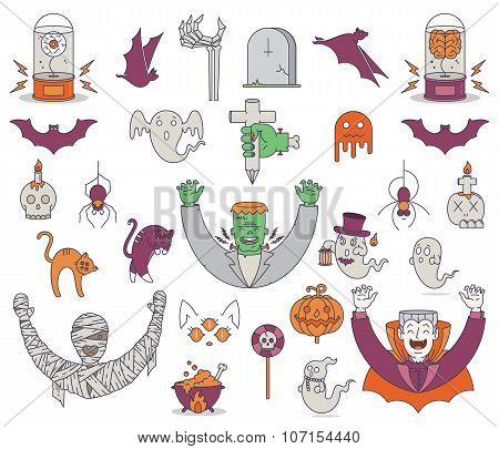Happy Halloween Elements Colored