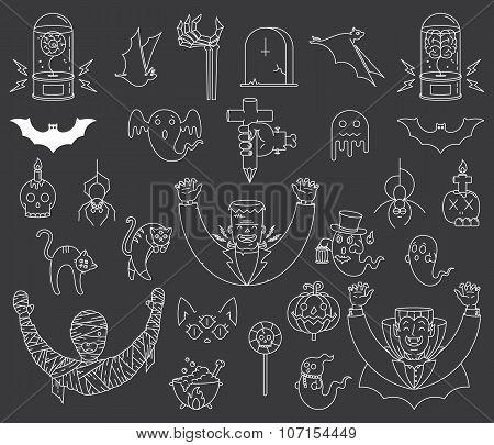 Happy Halloween Elements White On Black