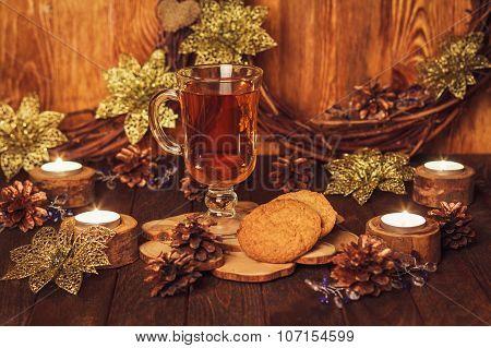 Christmas Table With Glass Of Tea
