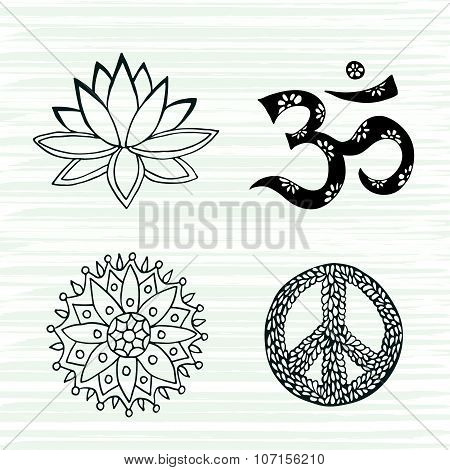 Culture Symbols Vector Set. Lotus, Mandala, Mantra Om And Peace Signs Hand Drawn Collection.