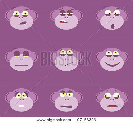 Cartoon monkey faces
