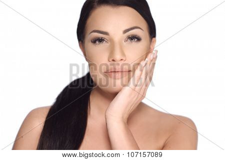 Sensual Brunette Woman in Beauty Shoot  She Posing with Bare Shoulders