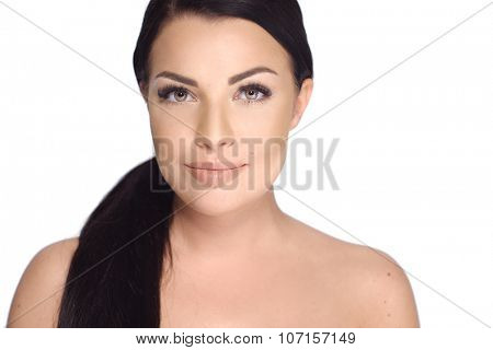Portrait of Young Beautiful  Brunette Girl With Ponytail Haircut  Isolated on White Background