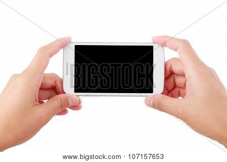 Female hand holding smartphone  isolated on white