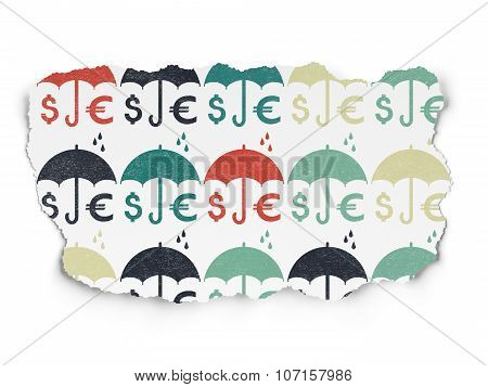 Privacy concept: Money And Umbrella icons on Torn Paper background